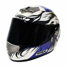 Lion Full Face Motorcycle Crash Helmet Blue
