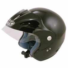 Open Face Motorcycle Crash Helmet Matt Black