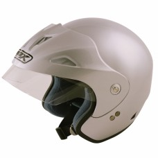 Open Face Crash Helmet Silver
