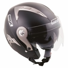 Open Face Crash Helmet with Sun Visor Matt Black