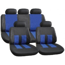 Black and Blue Leather Look Seat Cover Set