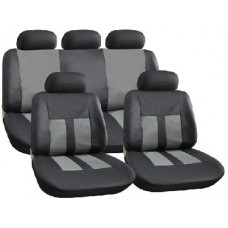 Grey And Black Leather Look Seat Cover Set