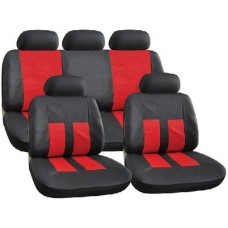 Black And Red  Leather Look Seat Cover Set