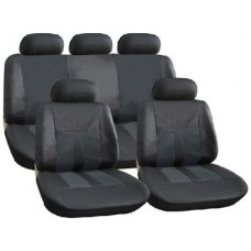 All Black  Leather Look Seat Cover Set