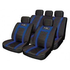 Leather Look Sports Style Seat Cover Set   Blue