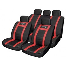 Leather Look Sports Style Seat Cover Set Red