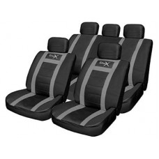 Leather Look Sports Style Seat Cover Set  Black/Grey