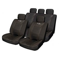 Leather Look Sports Style Seat Cover  Set All Black