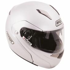 Flip Front Motorcycle Crash Helmet Silver
