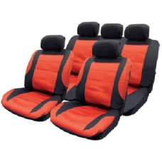 11pce Mesh seat Cover Set with 5 headrest covers in black and red