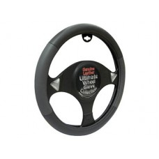 Leather Black/Grey Steering Wheel Wheel Glove