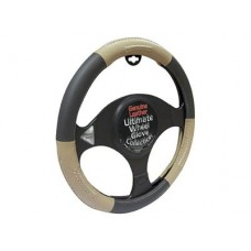 Leather Black/Beige Steering Wheel Glove