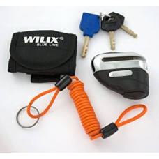 Wilix blue line black and chrome motorcycle disc lock and cable